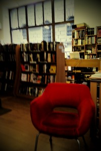 A red chair in a bookstore